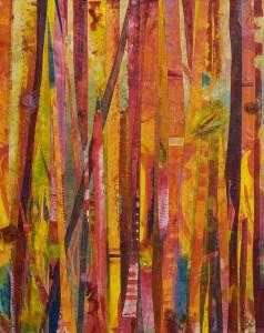 Red Bamboo II acrylic on Tyvek