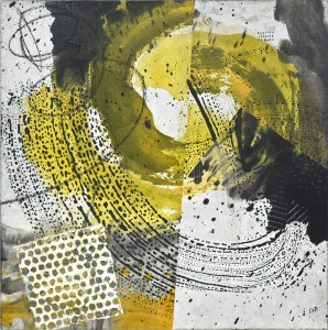 Double Spiral mixed media on rice paper